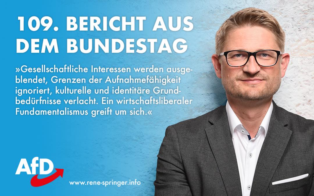 109. Bericht aus dem Bundestag